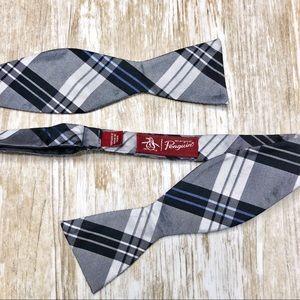 {Original Penguin} Silver Plaid Adjustable Bow Tie